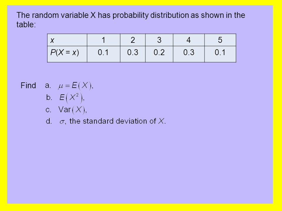 The random variable X has probability distribution as shown in the table: x12345 P(X = x)0.10.30.20.30.1 Find