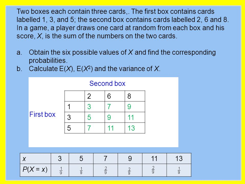 First box Second box Two boxes each contain three cards,. The first box contains cards labelled 1, 3, and 5; the second box contains cards labelled 2,