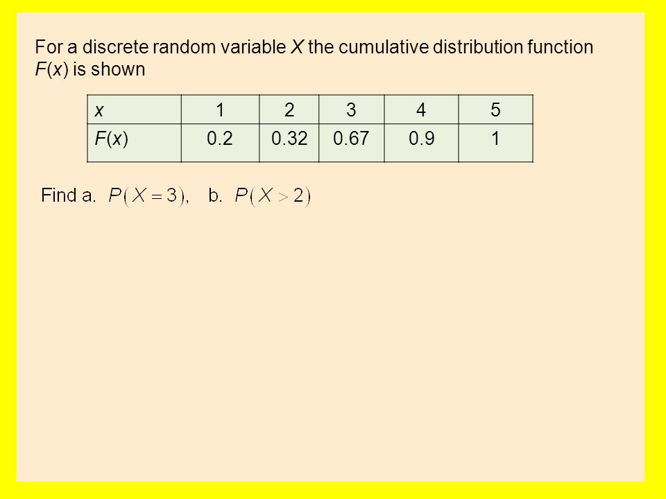 For a discrete random variable X the cumulative distribution function F(x) is shown x12345 F(x)F(x)0.20.320.670.91