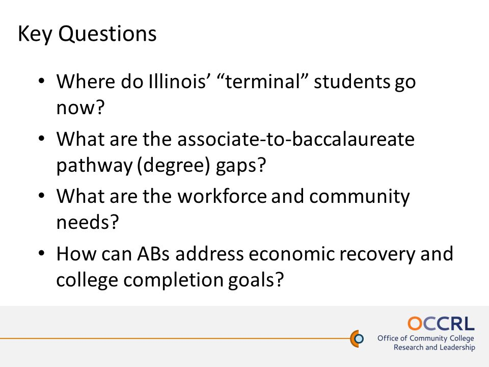 Key Questions Where do Illinois' terminal students go now.