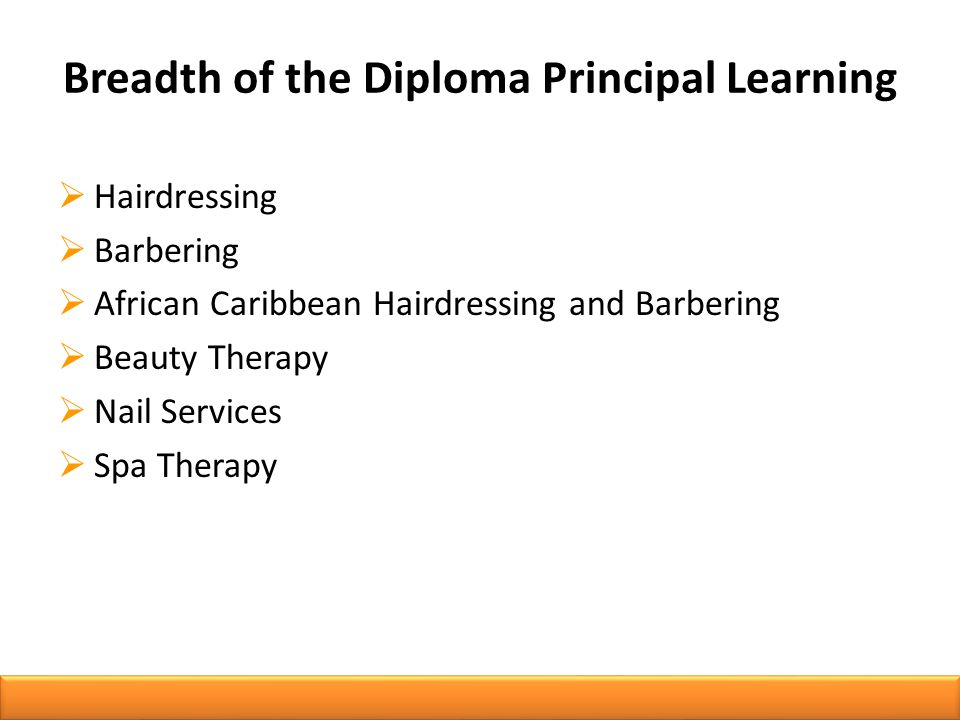 Breadth of the Diploma Principal Learning  Hairdressing  Barbering  African Caribbean Hairdressing and Barbering  Beauty Therapy  Nail Services  Spa Therapy