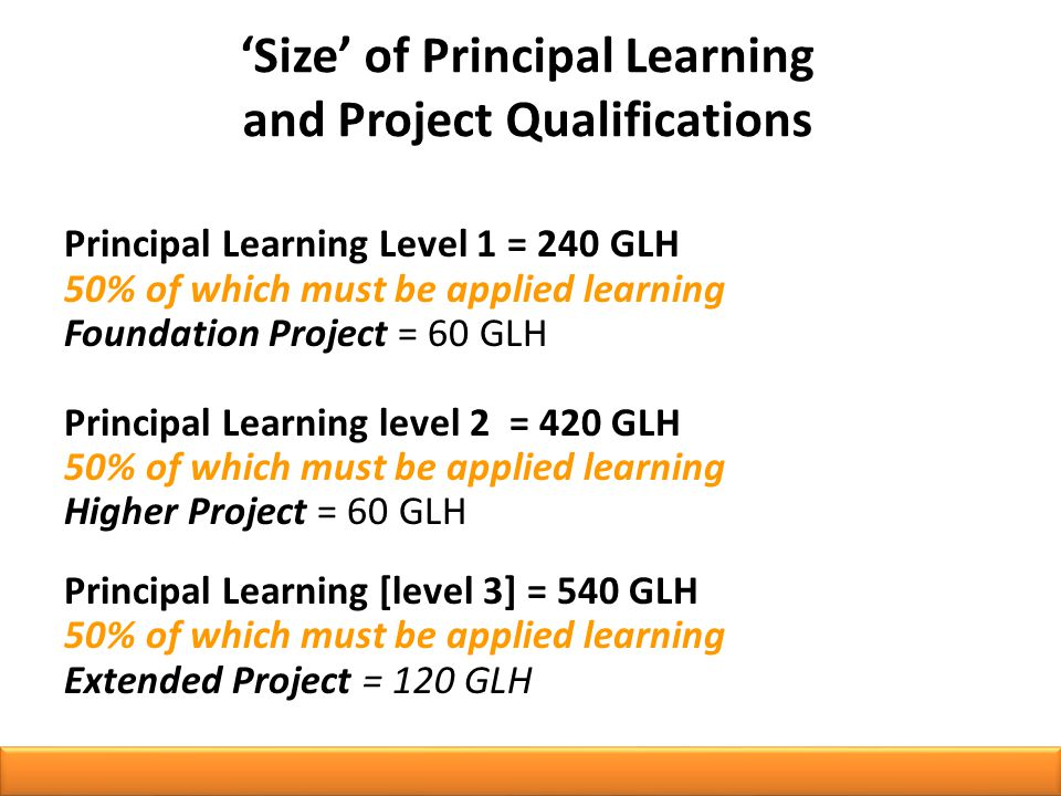Principal Learning Level 1 = 240 GLH 50% of which must be applied learning Foundation Project = 60 GLH Principal Learning level 2 = 420 GLH 50% of which must be applied learning Higher Project = 60 GLH Principal Learning [level 3] = 540 GLH 50% of which must be applied learning Extended Project = 120 GLH 'Size' of Principal Learning and Project Qualifications