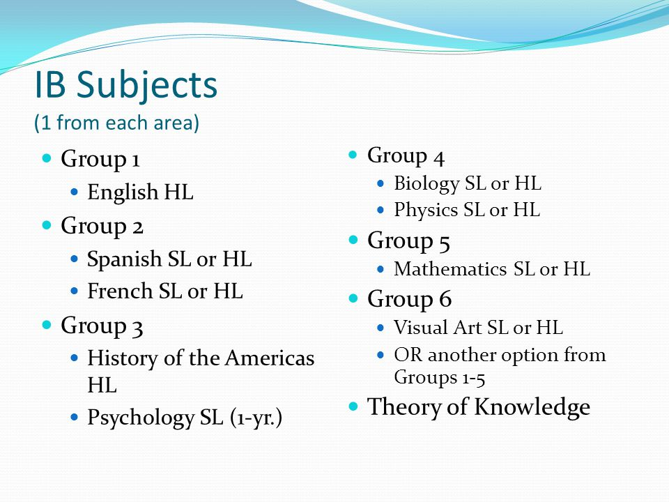 IB Subjects (1 from each area) Group 1 English HL Group 2 Spanish SL or HL French SL or HL Group 3 History of the Americas HL Psychology SL (1-yr.) Group 4 Biology SL or HL Physics SL or HL Group 5 Mathematics SL or HL Group 6 Visual Art SL or HL OR another option from Groups 1-5 Theory of Knowledge