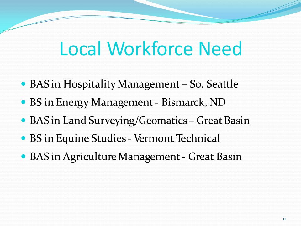 Local Workforce Need 11 BAS in Hospitality Management – So.