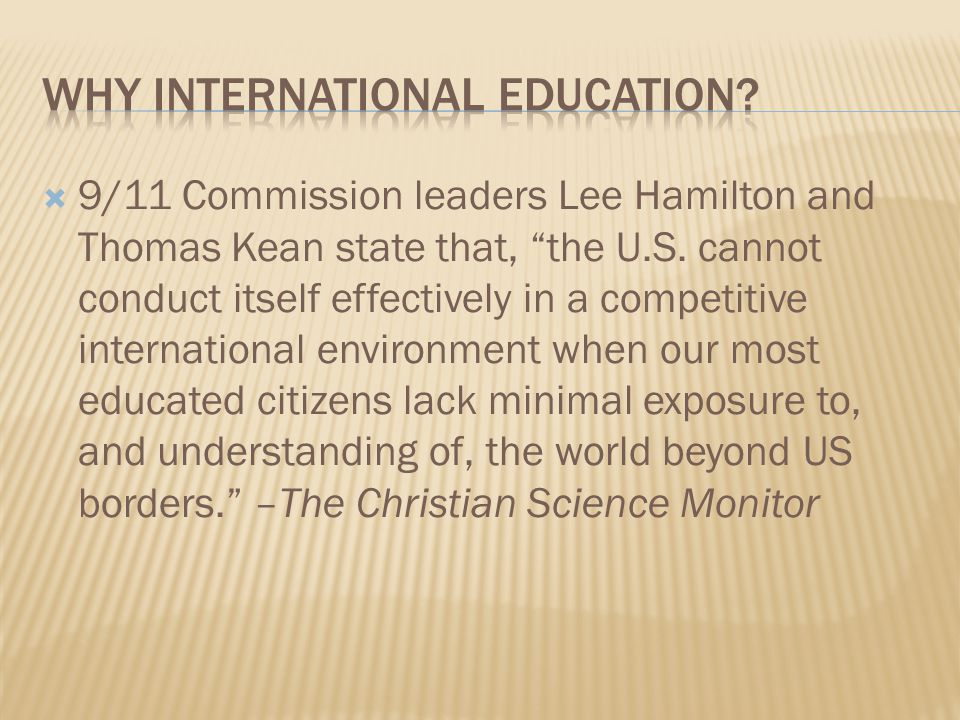  9/11 Commission leaders Lee Hamilton and Thomas Kean state that, the U.S.