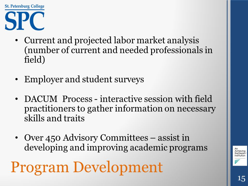 Program Development Current and projected labor market analysis (number of current and needed professionals in field) Employer and student surveys DACUM Process - interactive session with field practitioners to gather information on necessary skills and traits Over 450 Advisory Committees – assist in developing and improving academic programs 15