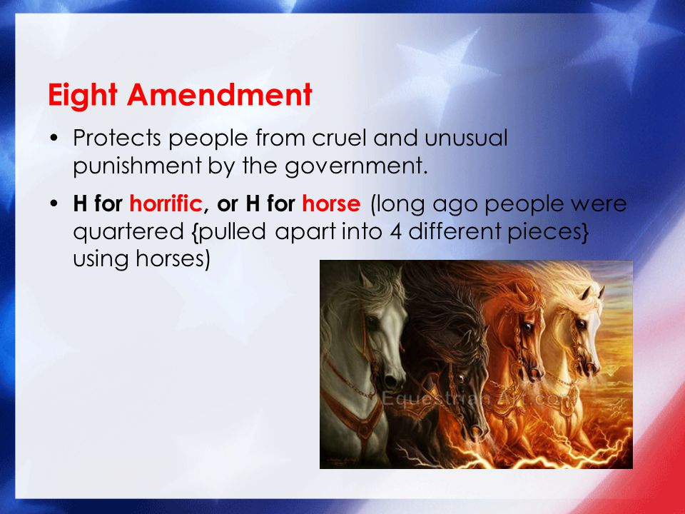 Protects people from cruel and unusual punishment by the government.