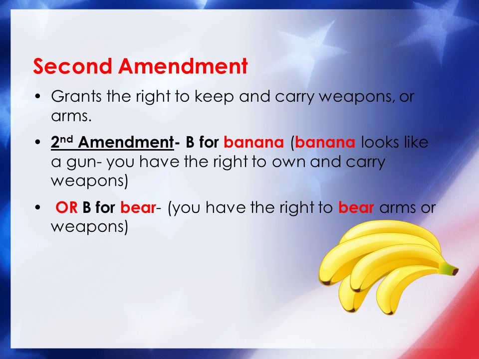 Grants the right to keep and carry weapons, or arms.