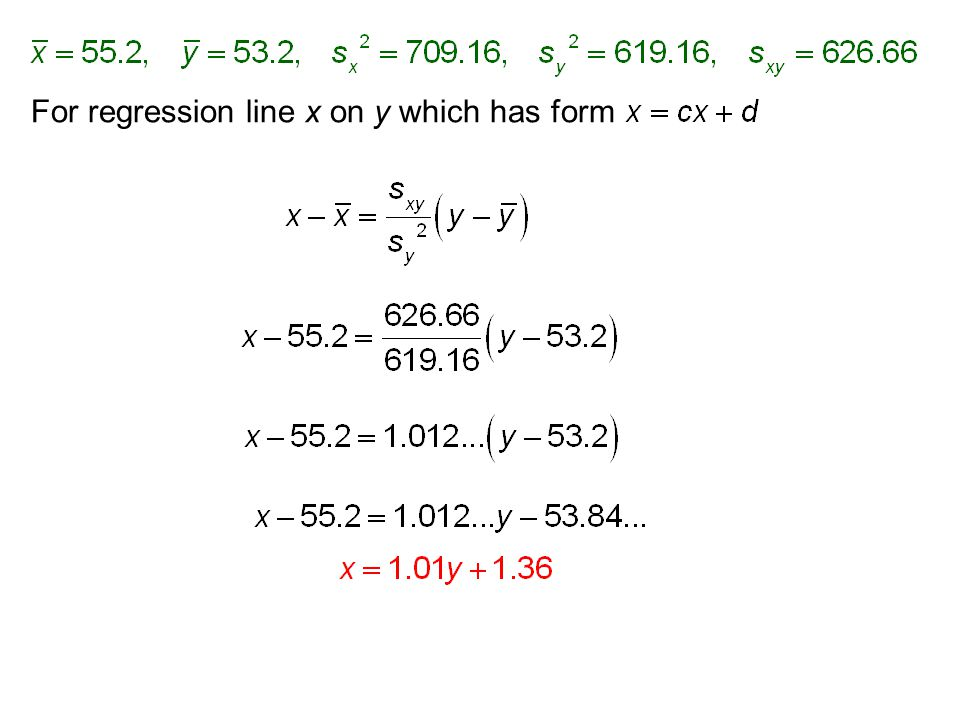 For regression line x on y which has form