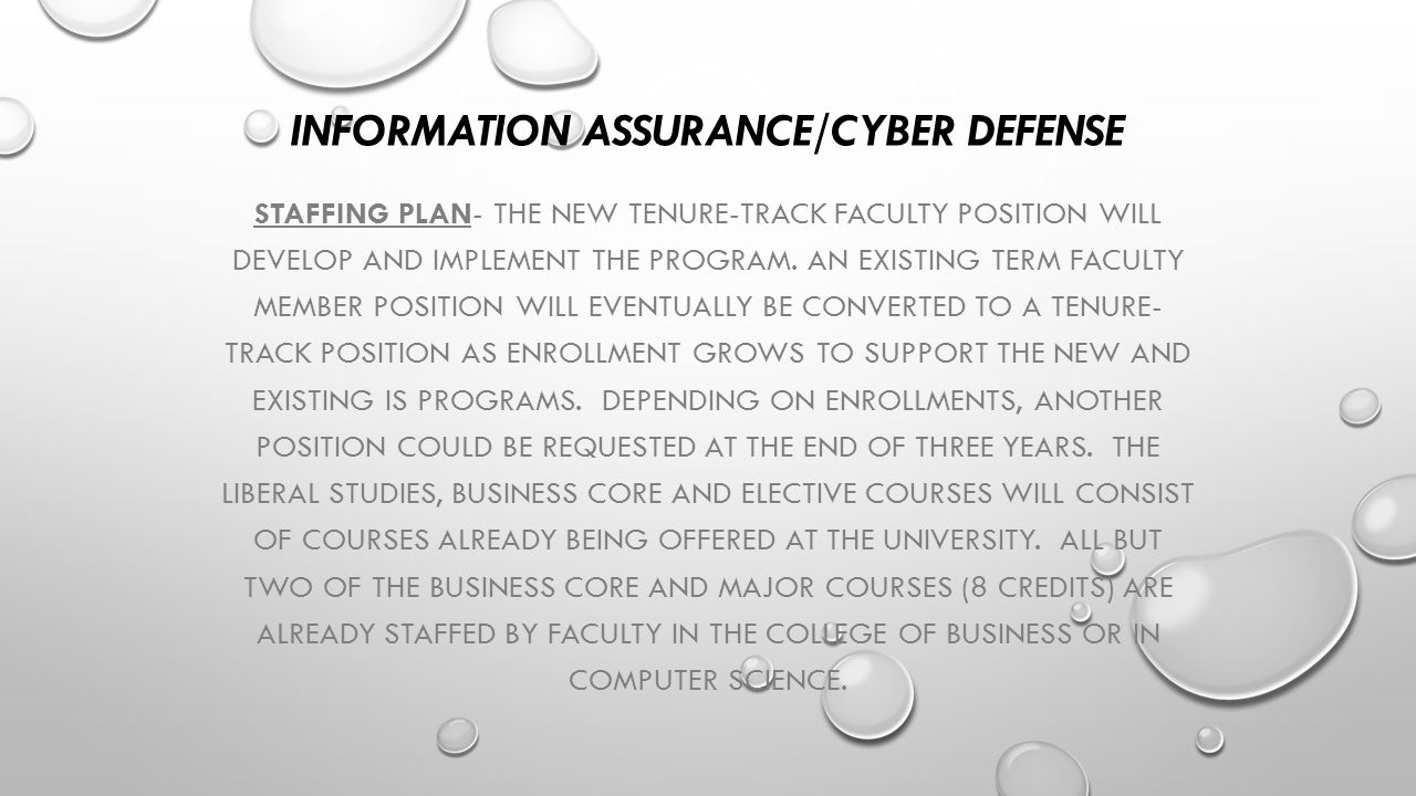 INFORMATION ASSURANCE/CYBER DEFENSE STAFFING PLAN- THE NEW TENURE-TRACK FACULTY POSITION WILL DEVELOP AND IMPLEMENT THE PROGRAM. AN EXISTING TERM FACU
