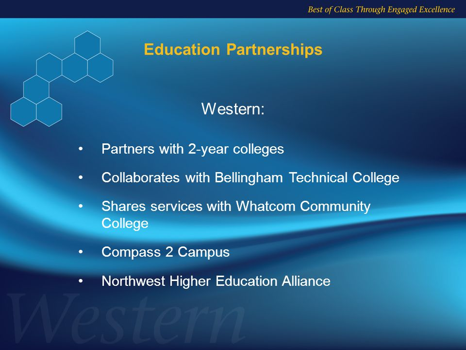 Partners with 2-year colleges Collaborates with Bellingham Technical College Shares services with Whatcom Community College Compass 2 Campus Northwest Higher Education Alliance Western: Education Partnerships