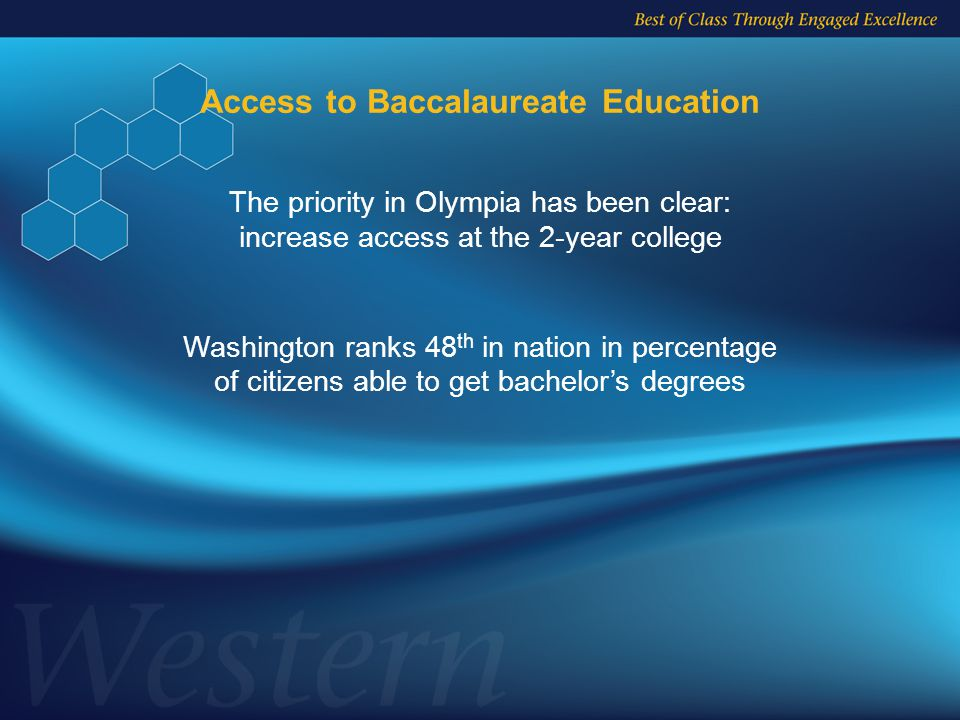 Access to Baccalaureate Education Washington ranks 48 th in nation in percentage of citizens able to get bachelor's degrees The priority in Olympia has been clear: increase access at the 2-year college