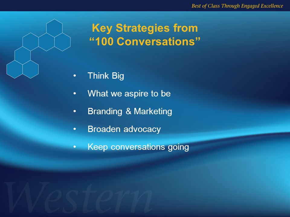 Key Strategies from 100 Conversations Think Big What we aspire to be Branding & Marketing Broaden advocacy Keep conversations going