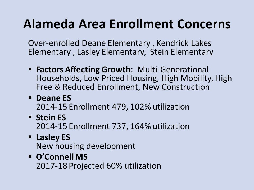 Alameda Area Enrollment Concerns Over-enrolled Deane Elementary, Kendrick Lakes Elementary, Lasley Elementary, Stein Elementary  Factors Affecting Growth: Multi-Generational Households, Low Priced Housing, High Mobility, High Free & Reduced Enrollment, New Construction  Deane ES 2014-15 Enrollment 479, 102% utilization  Stein ES 2014-15 Enrollment 737, 164% utilization  Lasley ES New housing development  O'Connell MS 2017-18 Projected 60% utilization