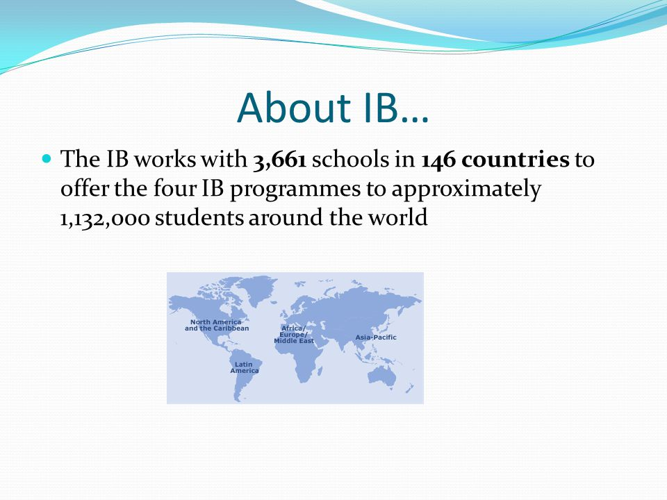 About IB… The IB works with 3,661 schools in 146 countries to offer the four IB programmes to approximately 1,132,000 students around the world