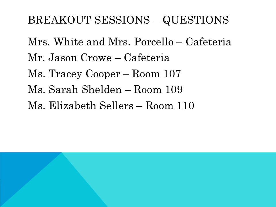 BREAKOUT SESSIONS – QUESTIONS Mrs. White and Mrs.