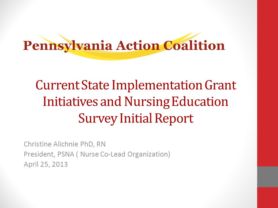 Current State Implementation Grant Initiatives and Nursing Education Survey Initial Report Christine Alichnie PhD, RN President, PSNA ( Nurse Co-Lead Organization) April 25, 2013
