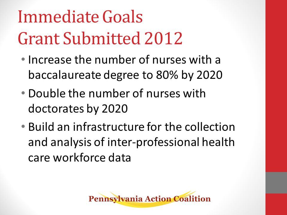 Increase the number of nurses with a baccalaureate degree to 80% by 2020 Double the number of nurses with doctorates by 2020 Build an infrastructure for the collection and analysis of inter-professional health care workforce data Immediate Goals Grant Submitted 2012