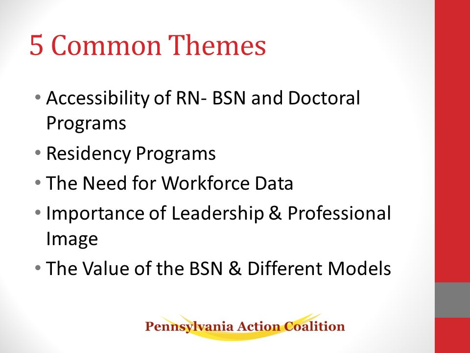 5 Common Themes Accessibility of RN- BSN and Doctoral Programs Residency Programs The Need for Workforce Data Importance of Leadership & Professional Image The Value of the BSN & Different Models