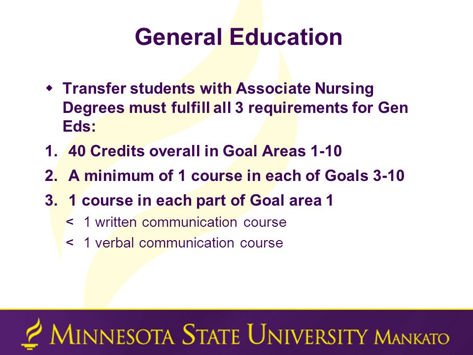 General Education  Transfer students with Associate Nursing Degrees must fulfill all 3 requirements for Gen Eds: 1.40 Credits overall in Goal Areas 1-10 2.A minimum of 1 course in each of Goals 3-10 3.1 course in each part of Goal area 1 <1 written communication course <1 verbal communication course
