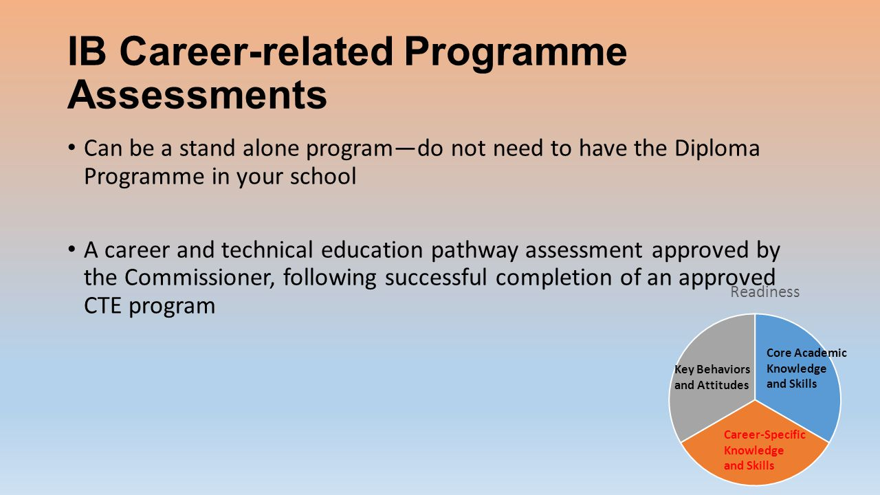 IB Career-related Programme Assessments Can be a stand alone program—do not need to have the Diploma Programme in your school A career and technical education pathway assessment approved by the Commissioner, following successful completion of an approved CTE program
