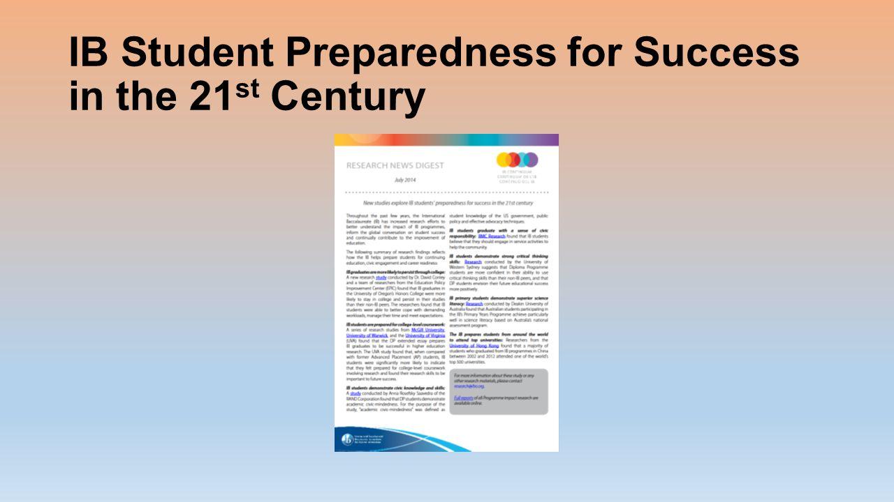 IB Student Preparedness for Success in the 21 st Century