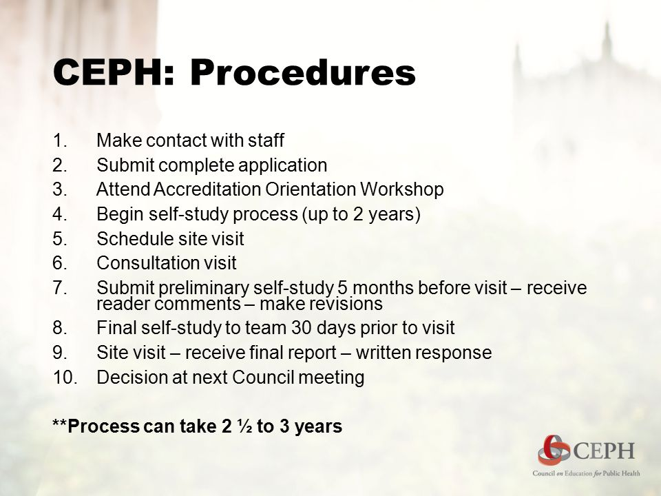CEPH: Procedures  Make contact with staff  Submit complete application  Attend Accreditation Orientation Workshop  Begin self-study process (up to 2 years)  Schedule site visit  Consultation visit  Submit preliminary self-study 5 months before visit – receive reader comments – make revisions  Final self-study to team 30 days prior to visit  Site visit – receive final report – written response  Decision at next Council meeting **Process can take 2 ½ to 3 years
