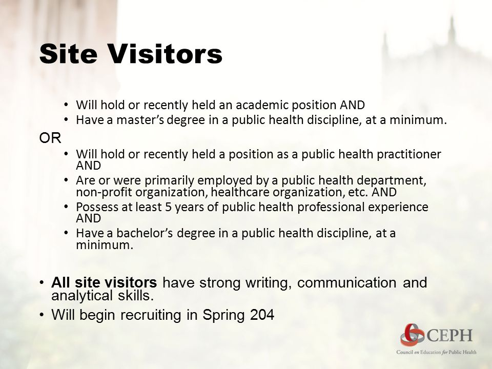 Site Visitors Will hold or recently held an academic position AND Have a master's degree in a public health discipline, at a minimum.