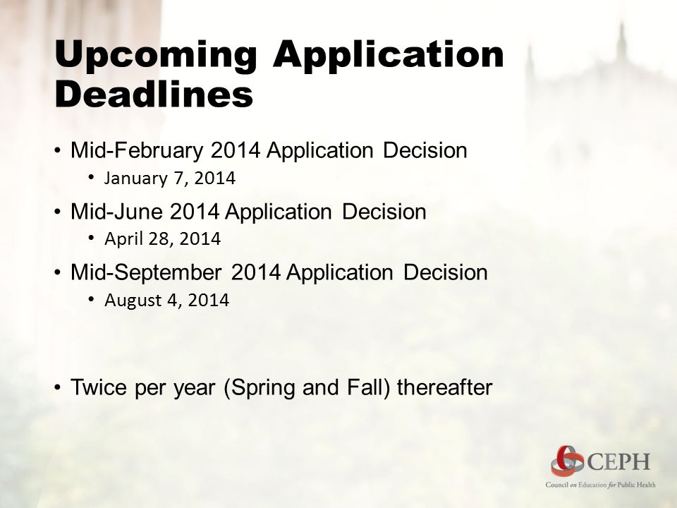 Upcoming Application Deadlines Mid-February 2014 Application Decision January 7, 2014 Mid-June 2014 Application Decision April 28, 2014 Mid-September 2014 Application Decision August 4, 2014 Twice per year (Spring and Fall) thereafter
