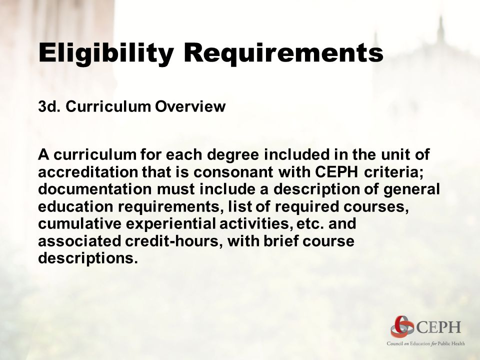 Eligibility Requirements 3d. Curriculum Overview A curriculum for each degree included in the unit of accreditation that is consonant with CEPH criter