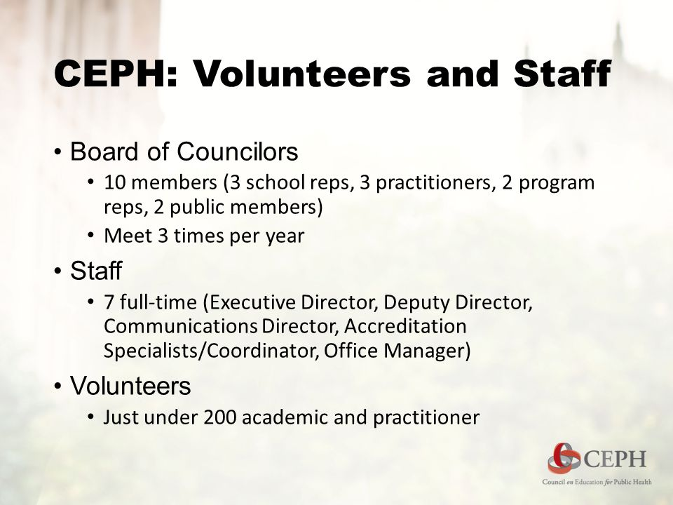 CEPH: Volunteers and Staff Board of Councilors 10 members (3 school reps, 3 practitioners, 2 program reps, 2 public members) Meet 3 times per year Sta