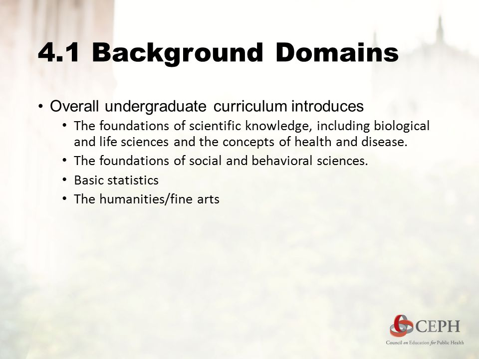 4.1 Background Domains Overall undergraduate curriculum introduces The foundations of scientific knowledge, including biological and life sciences and