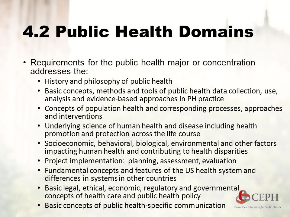 4.2 Public Health Domains Requirements for the public health major or concentration addresses the: History and philosophy of public health Basic concepts, methods and tools of public health data collection, use, analysis and evidence-based approaches in PH practice Concepts of population health and corresponding processes, approaches and interventions Underlying science of human health and disease including health promotion and protection across the life course Socioeconomic, behavioral, biological, environmental and other factors impacting human health and contributing to health disparities Project implementation: planning, assessment, evaluation Fundamental concepts and features of the US health system and differences in systems in other countries Basic legal, ethical, economic, regulatory and governmental concepts of health care and public health policy Basic concepts of public health-specific communication