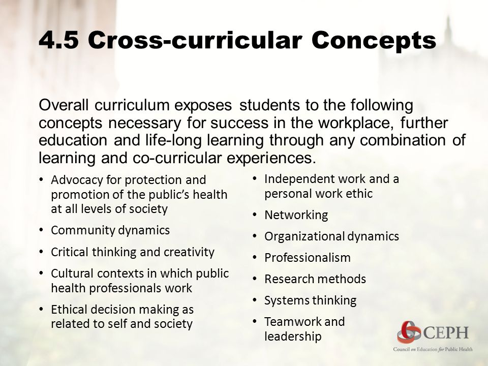 4.5 Cross-curricular Concepts Overall curriculum exposes students to the following concepts necessary for success in the workplace, further education and life-long learning through any combination of learning and co-curricular experiences.