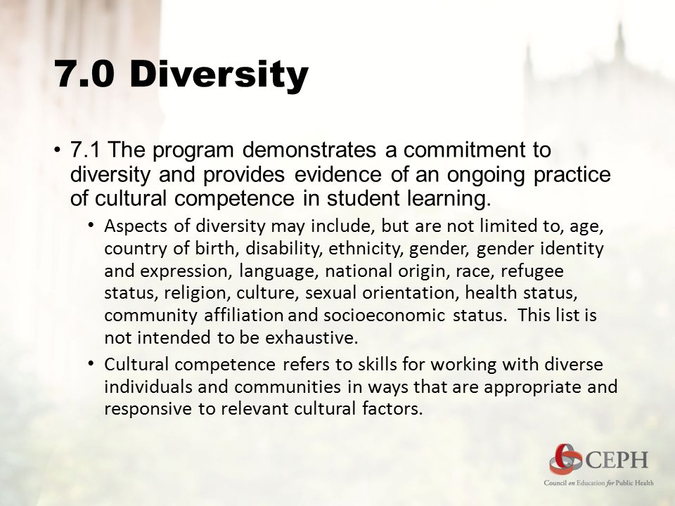 7.0 Diversity 7.1 The program demonstrates a commitment to diversity and provides evidence of an ongoing practice of cultural competence in student learning.