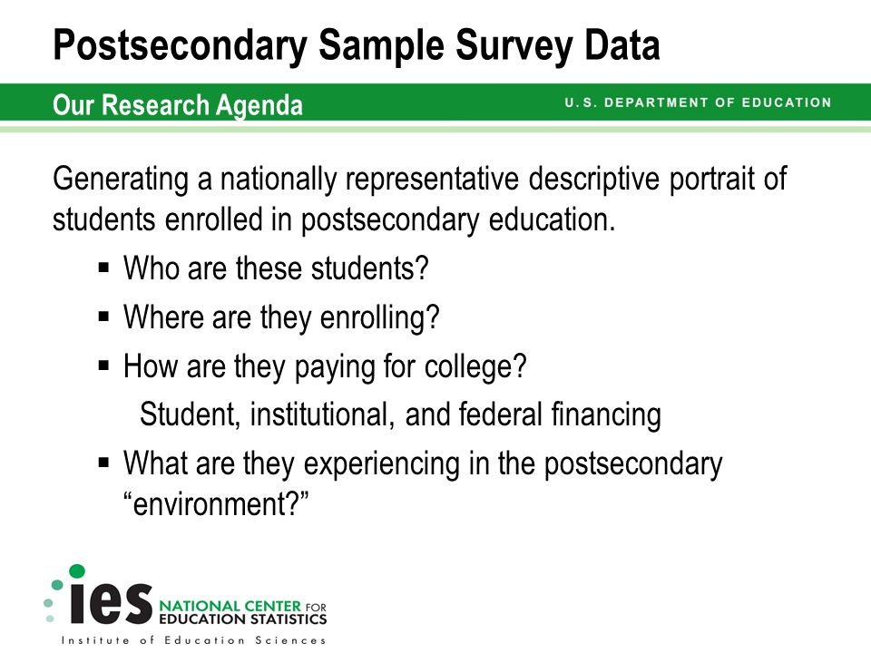Postsecondary Education Sample Studies And Data Tools Susan Aud Ph