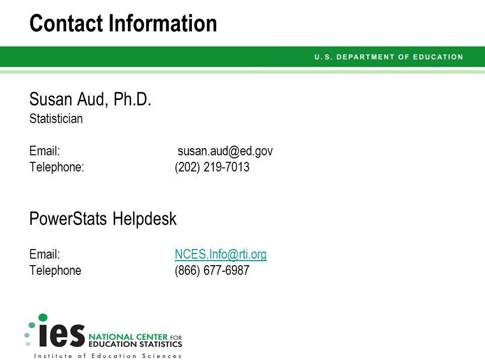 Contact Information Susan Aud, Ph.D.