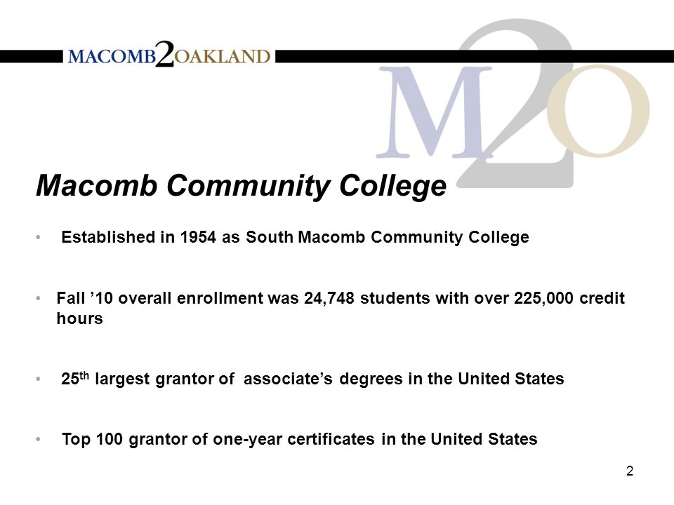 Macomb Community College The Macomb University Center (MUC) opened in fall 1991 The MUC has nine partner universities including Oakland University, and offers over 60 bachelor's, master's and doctoral programs Michigan State University Osteopathic Medical School opened in fall 2009 and currently has 150 medical students Fall 2010 University Center enrollment was nearly 4,500 students 3