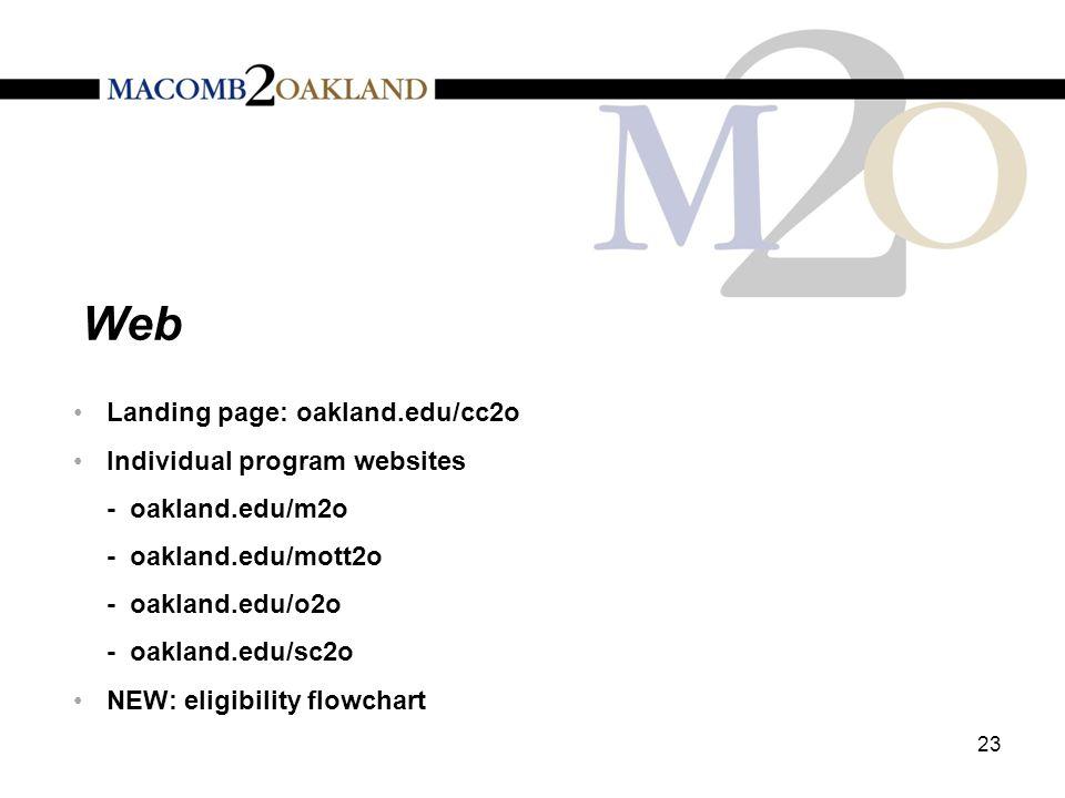 Web 23 Landing page: oakland.edu/cc2o Individual program websites - oakland.edu/m2o - oakland.edu/mott2o - oakland.edu/o2o - oakland.edu/sc2o NEW: eli
