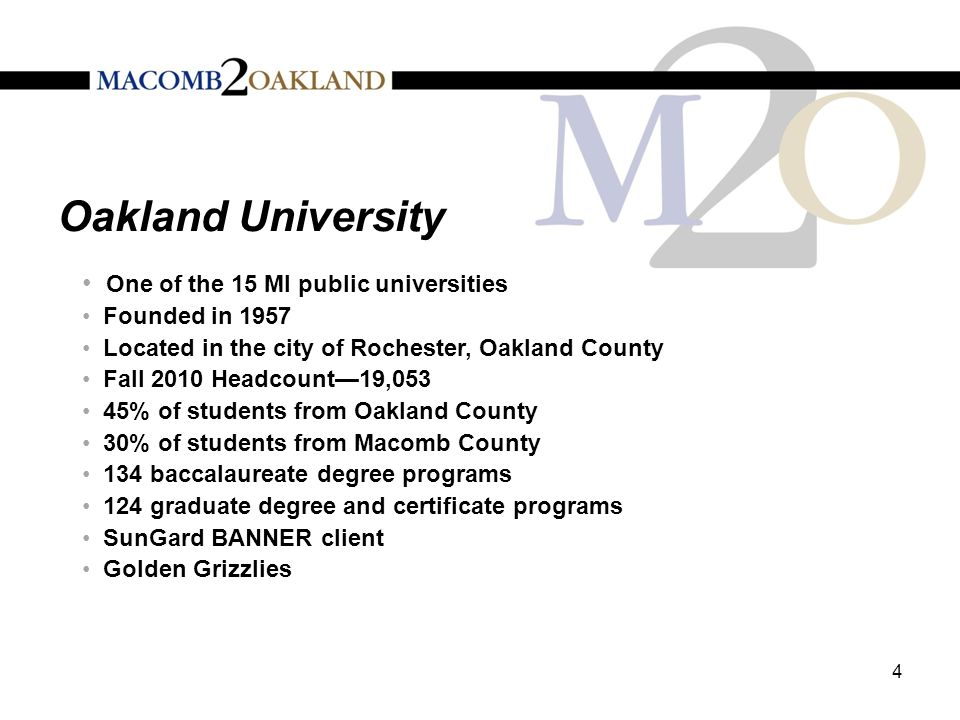Oakland University One of the 15 MI public universities Founded in 1957 Located in the city of Rochester, Oakland County Fall 2010 Headcount—19,053 45% of students from Oakland County 30% of students from Macomb County 134 baccalaureate degree programs 124 graduate degree and certificate programs SunGard BANNER client Golden Grizzlies 4