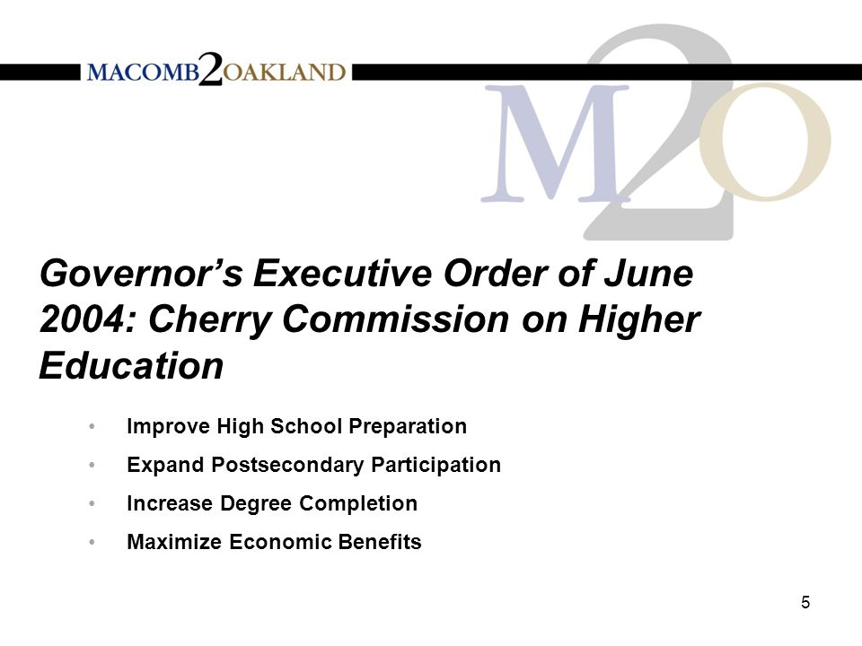 Governor's Executive Order of June 2004: Cherry Commission on Higher Education Improve High School Preparation Expand Postsecondary Participation Increase Degree Completion Maximize Economic Benefits 5