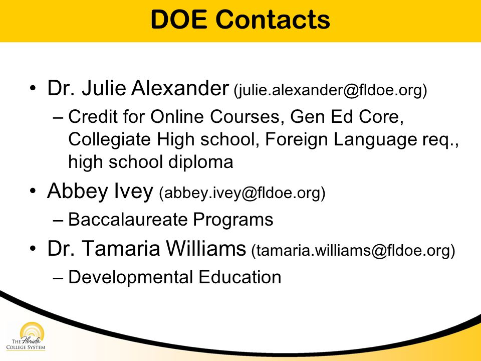DOE Contacts Dr.