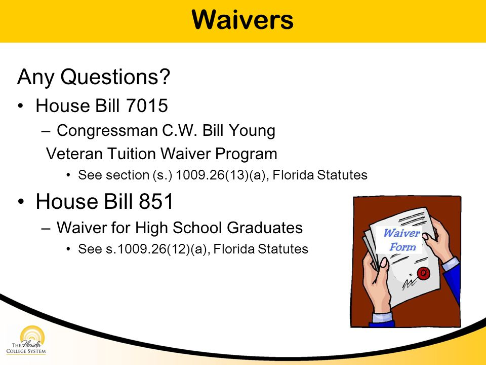Waivers Any Questions. House Bill 7015 – Congressman C.W.