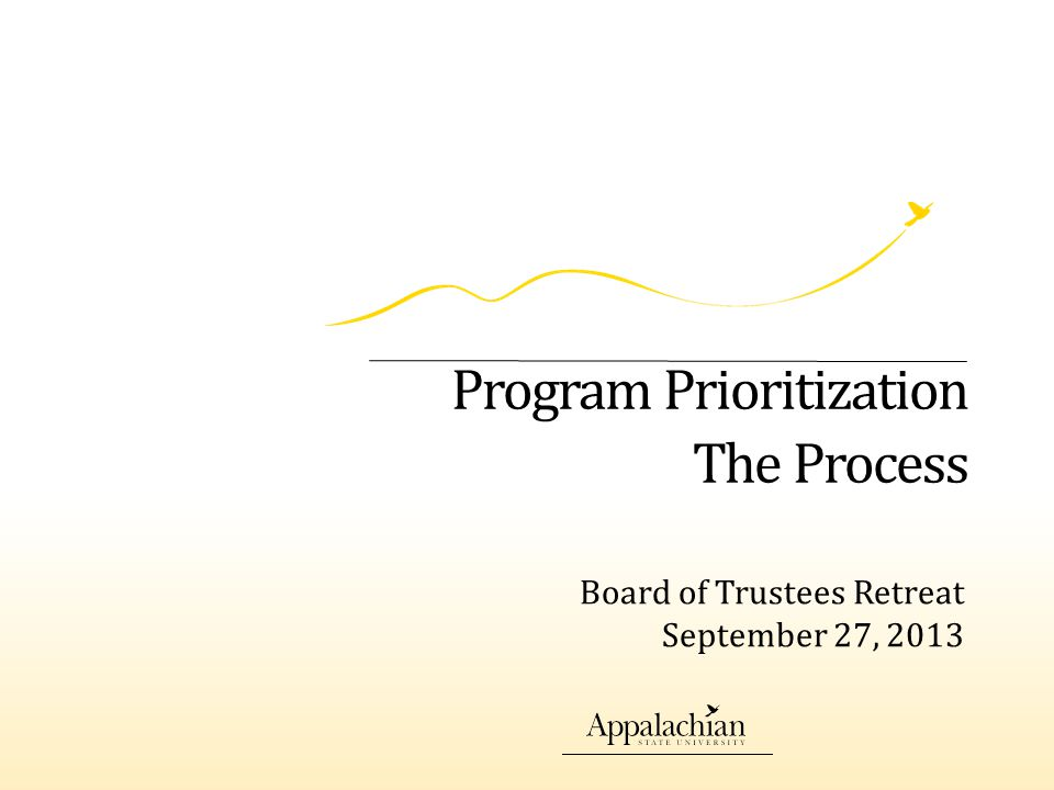 Timeline for the Process September 25:Report from the Graduate Working Group October 15:Deans submit prioritized list of all degree programs October 21:Reviewed by Deans' Council November 1Deans Review with faculty November 15:Results presented to Chancellor for Approval December 1:Report disseminated to campus December 12-13:Results presented to the BOT Spring 2014:Report to General Administration for BOG action Academic Affairs2