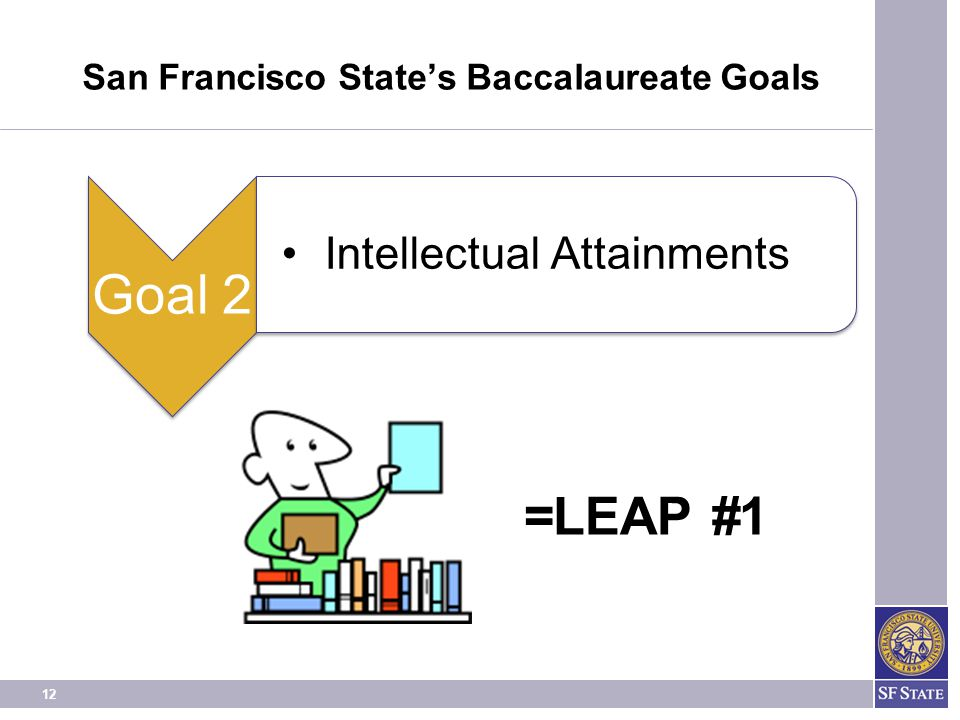 12 San Francisco State's Baccalaureate Goals =LEAP #1 Goal 2 Intellectual Attainments