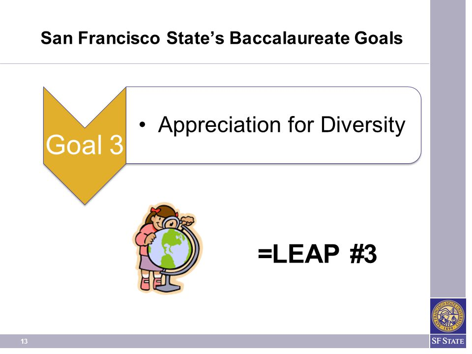 13 San Francisco State's Baccalaureate Goals =LEAP #3 Goal 3 Appreciation for Diversity