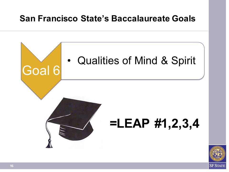 16 =LEAP #1,2,3,4 San Francisco State's Baccalaureate Goals Goal 6 Qualities of Mind & Spirit