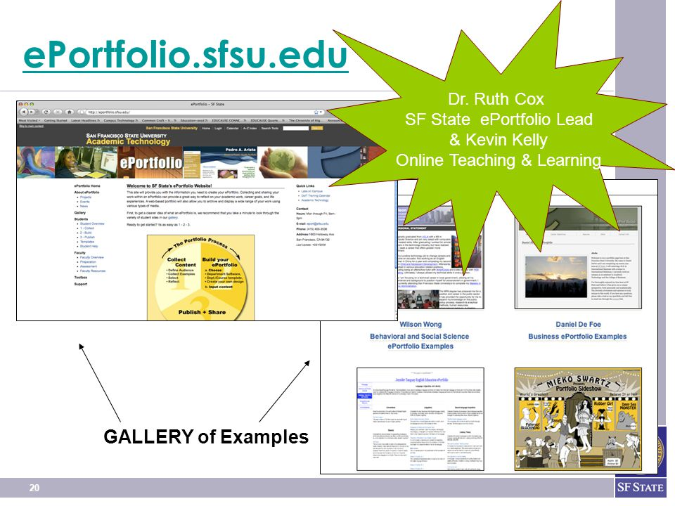 20 ePortfolio.sfsu.edu GALLERY of Examples Dr.