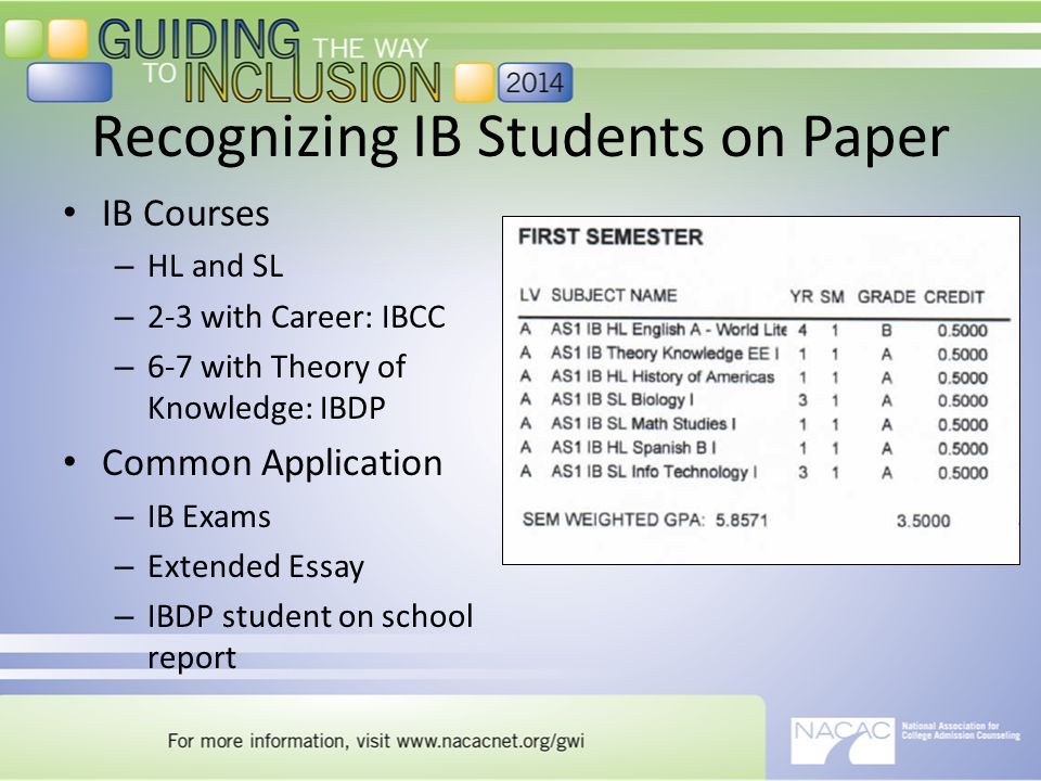 Recognizing IB Students on Paper IB Courses – HL and SL – 2-3 with Career: IBCC – 6-7 with Theory of Knowledge: IBDP Common Application – IB Exams – Extended Essay – IBDP student on school report