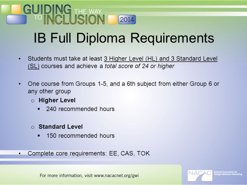 Students must take at least 3 Higher Level (HL) and 3 Standard Level (SL) courses and achieve a total score of 24 or higher One course from Groups 1-5, and a 6th subject from either Group 6 or any other group o Higher Level  240 recommended hours o Standard Level  150 recommended hours Complete core requirements: EE, CAS, TOK IB Full Diploma Requirements